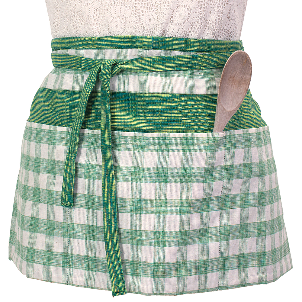 Green Gingham Half Apron